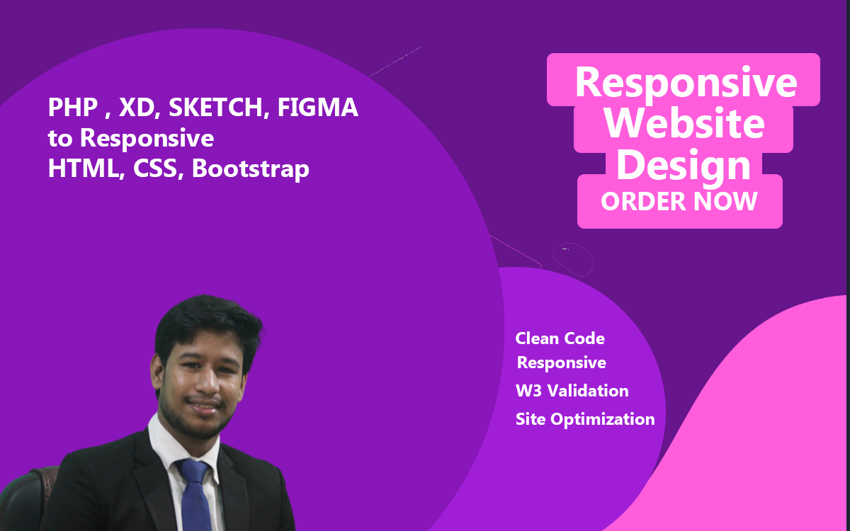 I will convert PSD,xd, sketch,figma to responsive HTML,CSS,bootstrap4